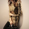 Новый Сексуальный Dress женская 0-образным вырезом С Длинным рукавом молнии Золото блестками уходят глубоко dress ladies evening party club dress Mini топ