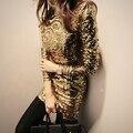 New Sexy Dress womens 0-neck Long sleeve zipper Gold sequined stretch back deep dress ladies evening party club dress Mini top