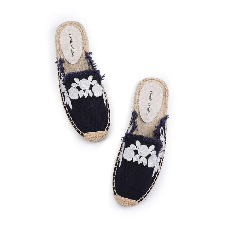 Pantufa Women Shoes Tienda Soludos Slippers Cotton Fabric Sale Promotion Hemp Rubber Summer Slides Zapatos De Mujer Floral 1