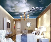 wallpaper 3d ceiling Star night sky airplane month living room bedroom ceiling frescoes 3d ceiling murals wallpaper