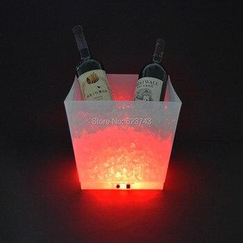 светодиодные кубики льда | Бесплатная доставка перезаряжаемый 12л большой емкости PP куб Led виски ведерко со льдом под бутылку шампанского использовать для дома для оте...
