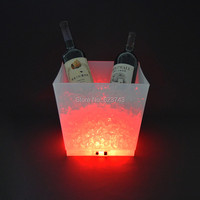 Free shipping rechargeable 12L large capacity PP cube led whisky champagne ice bucket use for home hotel bar wine Seau bucket