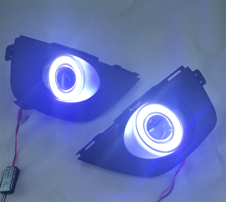 eOsuns Innovative COB angel eye led daytime running light DRL +Fog Light + Projector Lens for Renault Koleos 2012-2014, 2pcs ownsun innovative super cob fog light angel eye bumper cover for skoda fabia scout