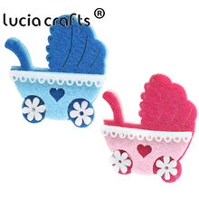 Lucia crafts 4pcs/12pcs Blue,Pink Patch Hand Sew-On Sewing Clothes Baby Carriage Motifs Garment Patchs DIY Accessory B1104(China)