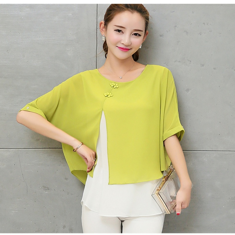 Plus Size Two Layer Ladies Tops Buttons Blusas Summer Loose Casual Women Chiffon Blouses Shirt Batwing Sleeve 4XL