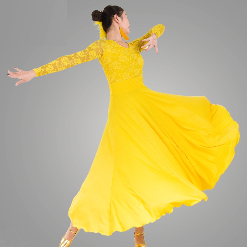 Picture of 7 Colors Big Wing Blue Ballroom Dance Dress For Ballroom Dancing Waltz Tango Spanish Flamenco Dress Standard Ballroom Dress