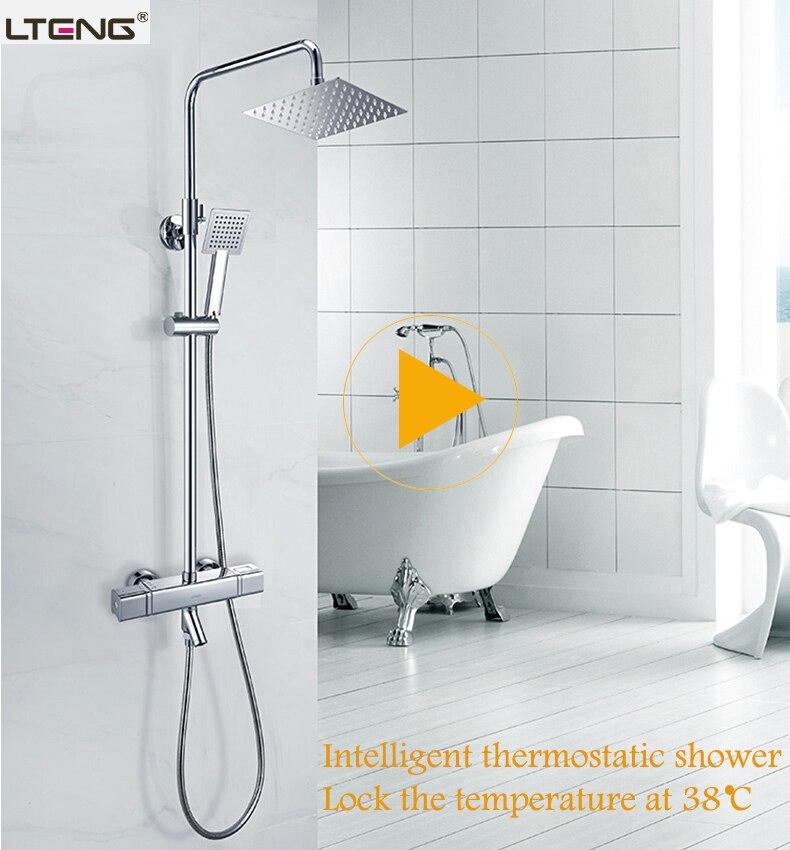 LTENG smart set doccia intelligente di controllo del termostato di ceramica spool girevole e di sollevamento sistema doccia rubinettoLTENG smart set doccia intelligente di controllo del termostato di ceramica spool girevole e di sollevamento sistema doccia rubinetto