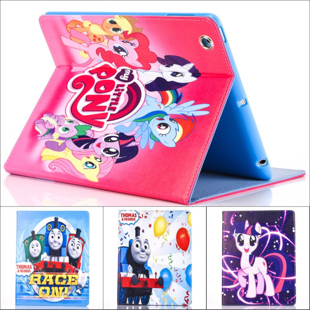 Fashion Moive My Little Pony and Thomas Pu leather stand holder Cover Case For ipad air 2 for ipad air2 with screen protector