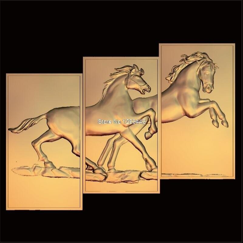 3 stücke Pferd 3d modell STL erleichterung für cnc STL-format rahmen tier 3d Relief Modell STL Router 3 achsen Engraver ArtCam