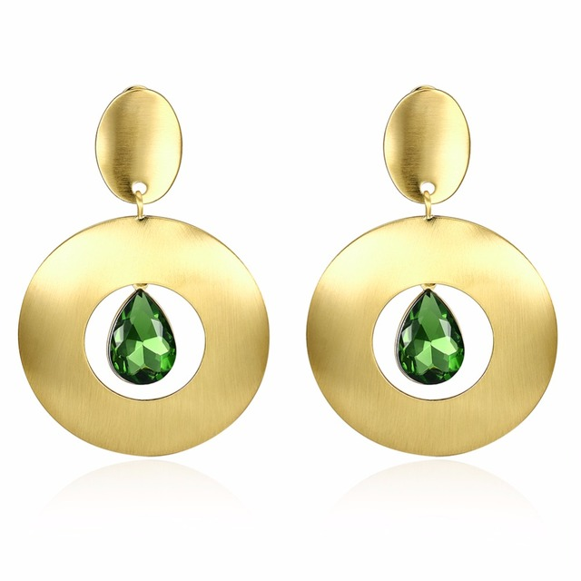 2017 New Fashion Women Earrings Gold Color Round Shape Hollow Out Green Stone Pendant Party