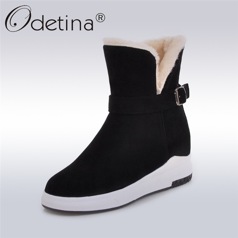 Odetina 2017 New Fashion Women Snow Boots Platform Buckle Ankle Boots Falt Thick Plush Winter Warm Shoes Hidden Heel Big Size 43