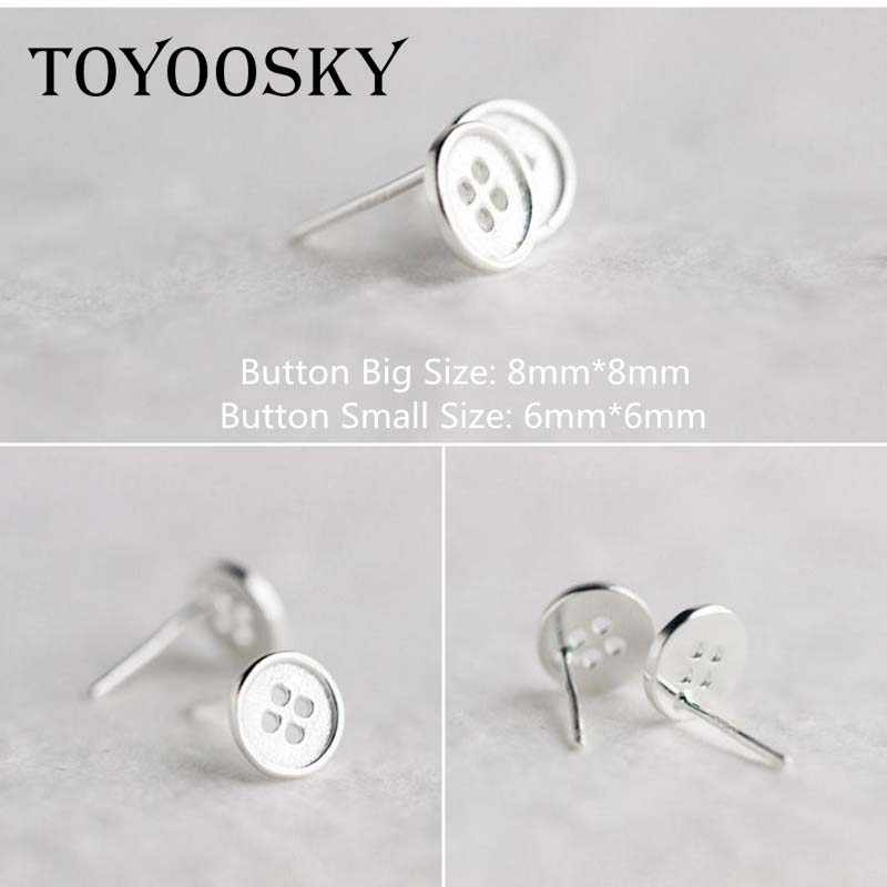 f2ce2d7b6 ... 1pair 6mm 8mm Round Fastener Button Shape Stud Earrings 925 Stamp Sterling  Silver Cute Girls Child ...