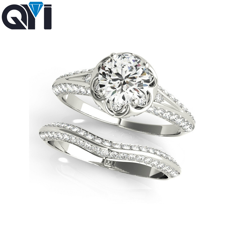 QYI women ring 925 sterling silver ring sets round cut luxury fine Jewelry wedding cubic zirconia rings for women bandQYI women ring 925 sterling silver ring sets round cut luxury fine Jewelry wedding cubic zirconia rings for women band