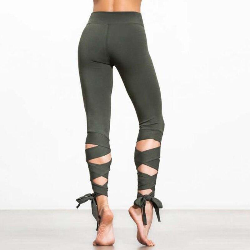 Women Ballerina Yoga Pants Sport Leggings Fitness Cross Yoga High Waist Ballet Dance Tight Bandage Yoga Cropped Pants Sportswear