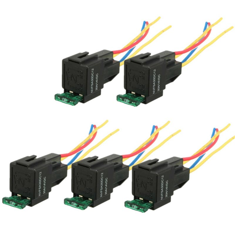 Pre Wired 4 Pin Relay Mounting Base Relay Socket Holder With Medium Fused On/Off 4-Pin Wired Cable 18AWG 30A DC12V 3 pcs din rail mounting plastic relay socket base holder for 8 pin relay pyf08a