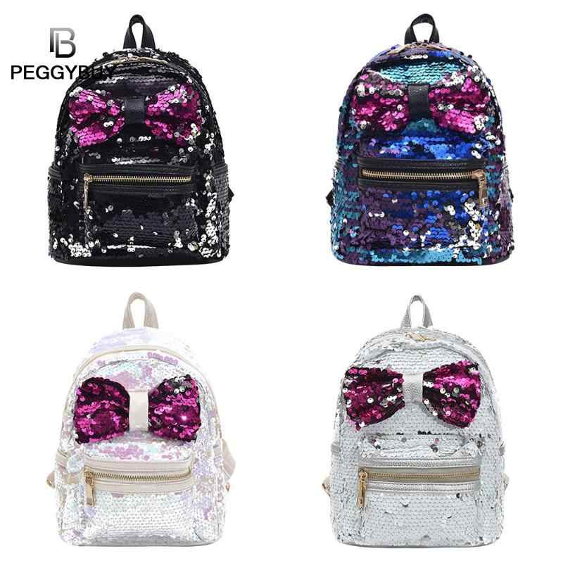 7322119d92 Glitter Sequins Backpack Women s Fashion Big Bow PU Leather Travel Bag  Girl s Shining Shiny School Book