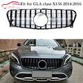 X156 GT Решетка переднего бампера с капюшоном  сетка для Mercedes GLA class X156 pre-facelift 2014-2016 GLA200 GLA250 GLA45 AMG GT R GTR gird