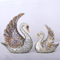Resin Handicrafts Silver Plated Couples Swan Home Decoration Creative Gift Present Souvenir Accessories Figurine Animal Statue