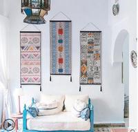Elegante longo estilo folk colorido geométrica cotton linen kilim tapeçaria pendurado decoração da parede sala de estar fundo de pano de pano|Tapeçaria| |  -