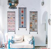 elegant long colorful folk style geometric tapestry cotton linen kilim hanging cloth wall decor living room background cloth