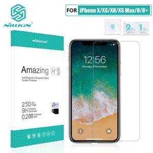 Image 2 - Đối với iPhone X/XS/XR/XS Max/8 Cộng Với Glass Bảo Vệ Màn Hình NILLKIN Tuyệt Vời H/ H +/H + PRO 9 H 2.5D Vòng Cung 0.3mm Tempered Kính Bảo Vệ