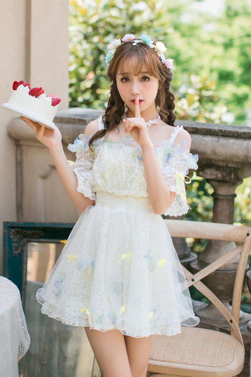 Kadın Giyim'ten Elbiseler'de Prenses tatlı lolita şeker yağmur Japon tatlı yaka askı elbise Dantel elbise C22AB7096'da  Grup 1