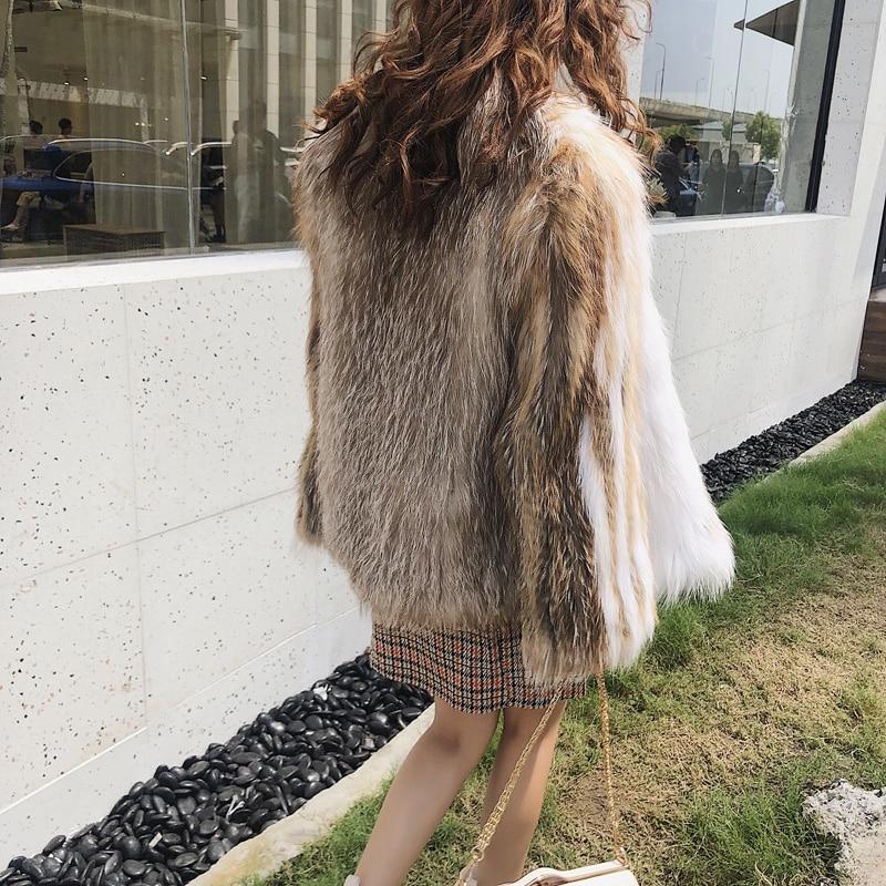 Couleur Champagne Courte Fourrure Fansty Femmes De L'importation Classique Renard Tissage 2018 cou Marbre Perte Contraste Slim Manteaux V M Manteau Y xRqWw7UnCS