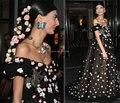 2014 ндпи гала красной ковровой дорожке джованна Battaglia сексуальная Vestidos off-плечи платье-линии черный тюль беременным вечерние платья знаменитостей