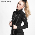 Punk Rave Black Hollow-out Broken Holes Sweater Turtleneck Women Sweaters And Pullovers Solid Knitted  High Collar