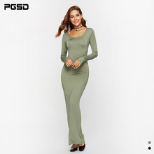PGSD New Autumn casual Office lady Simple Fashion solid Long sleeve O-Neck Sexy slim Dress Women clothes Bottom Pullover