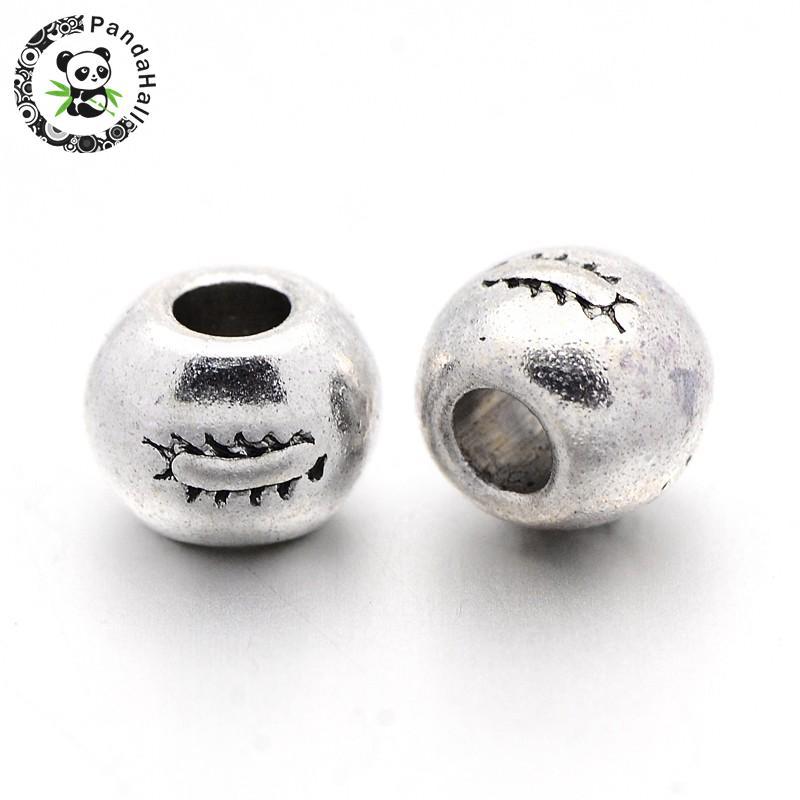 Тибетский Стиль старинное серебро круглый Бусины, свинца и Никель бесплатно и кадмия, около 7 мм в диаметре, отверстие: 3 мм