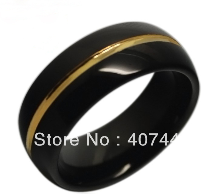 Price Free Shipping Usa Hot Ing 8mm Mens Black New Gold Two Tones Tungsten Ring Wedding Band Us Sizes 7 13 In Bands From Jewelry