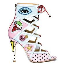 New Fashion Open Toe Lace-up Ankle Boots Colorful Printed Leather High Heel Sandals Cut-out Strap Women Dress Shoes Big Size 10