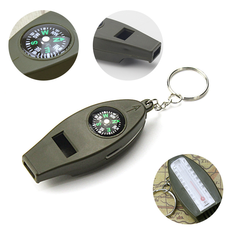 Multi-function Four-in-one Whistle With Compass Compass Magnifier Thermometer Outdoor Survival Whistle 2Pack