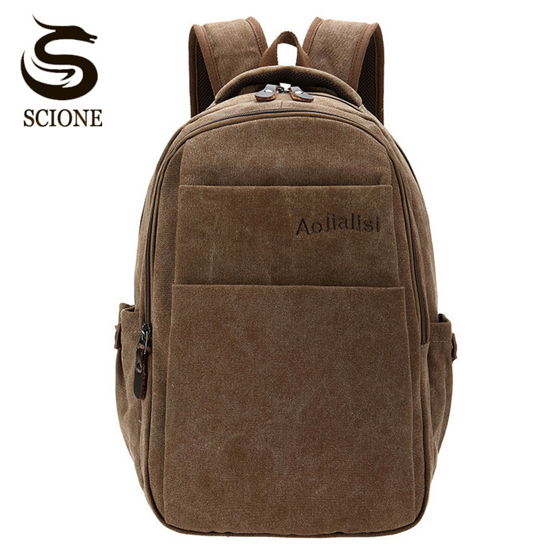 Scione Casual Men Canvas Backpack Mens Vintage Student School Bag Pack Big Capacity Laptop Rucksack Retro Canvas Travel Backpack vintage multifunction business travel canvas backpack men leisure laptop bag school student rucksack