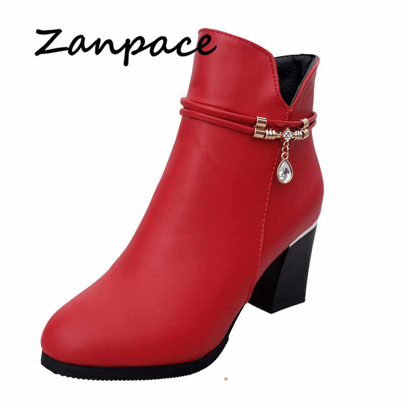 Zanpace 2018 Women Boots Winter Europe Plus Velvet Leopard Print Boots Pointed Toe Ankle Side Zipper Boots High Heel S
