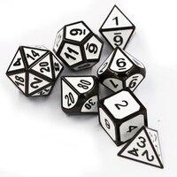 7pcs/set Creative RPG Game Dice D&D Metal Dice DND Enamel Black White Numbers