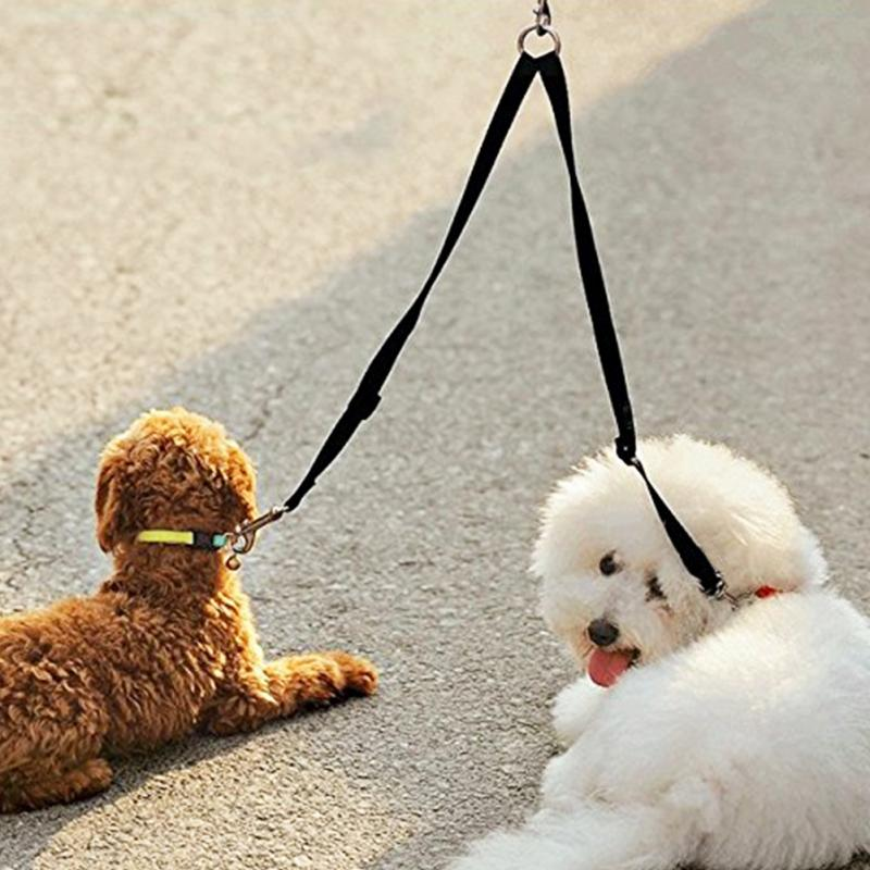Double Dog Leash Coupler No Tangle Durable Suits All Walker Dog and Trainer Leash Two Dogs Splitter Lead Adjustable
