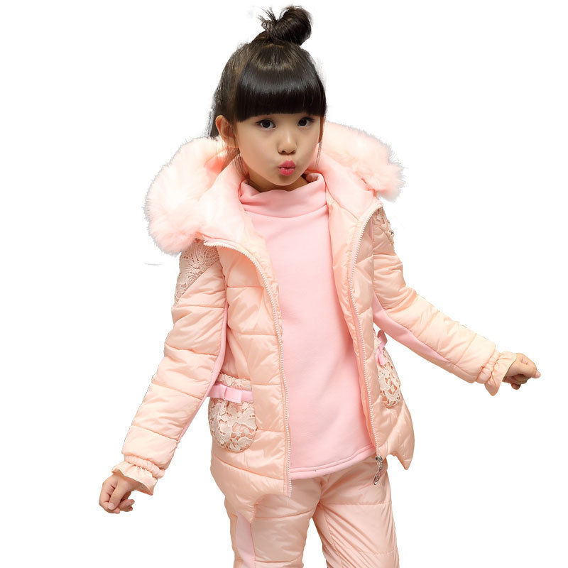 Suit For Girl Christmas Winter Sports Clothing Set Lace Long Sleeve Shirt + Jacket + Pant 3pcs Toddler Girls Clothes 3-11 Years