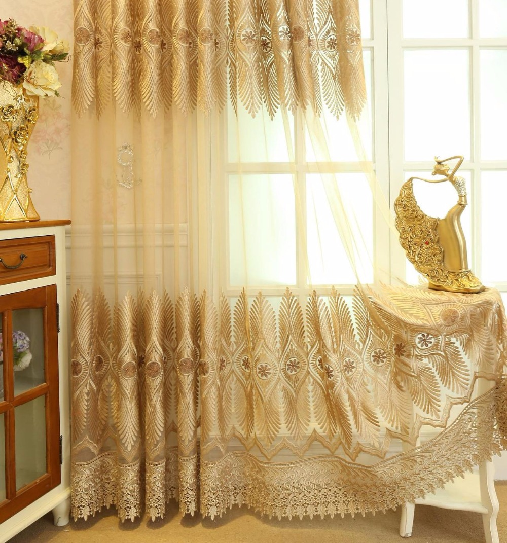 Aliexpress Buy High End European Classical Embroidery Tulle CurtainsBedroom Living Room Muslin CurtainDoor Curtainluxury French Window From