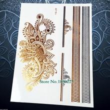 1PC Design Women Henna Temporary Tattoo Gold PYS-29 Fake Metallic Tattoo Paster Body Art Arm Tattoo Flash Waterproof Tatoo
