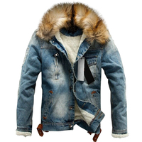 drop shipping 2018 new men jeans jacket and coats denim thick warm winter outwear S 4XL LBZ21