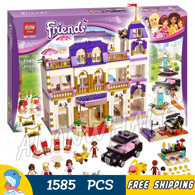 1585pcs Friends Series Heartlake Grand Hotel 10547 Model Building Bricks Blocks Emma Stephanie Toys girls Compatible With Lego building hotel kpis