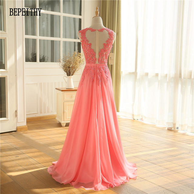 BEPEITHY Vestido Longo Watermelon Chiffon Long Evening Dress New Arrival Prom Dress Robe De Soiree Longue Party Gowns