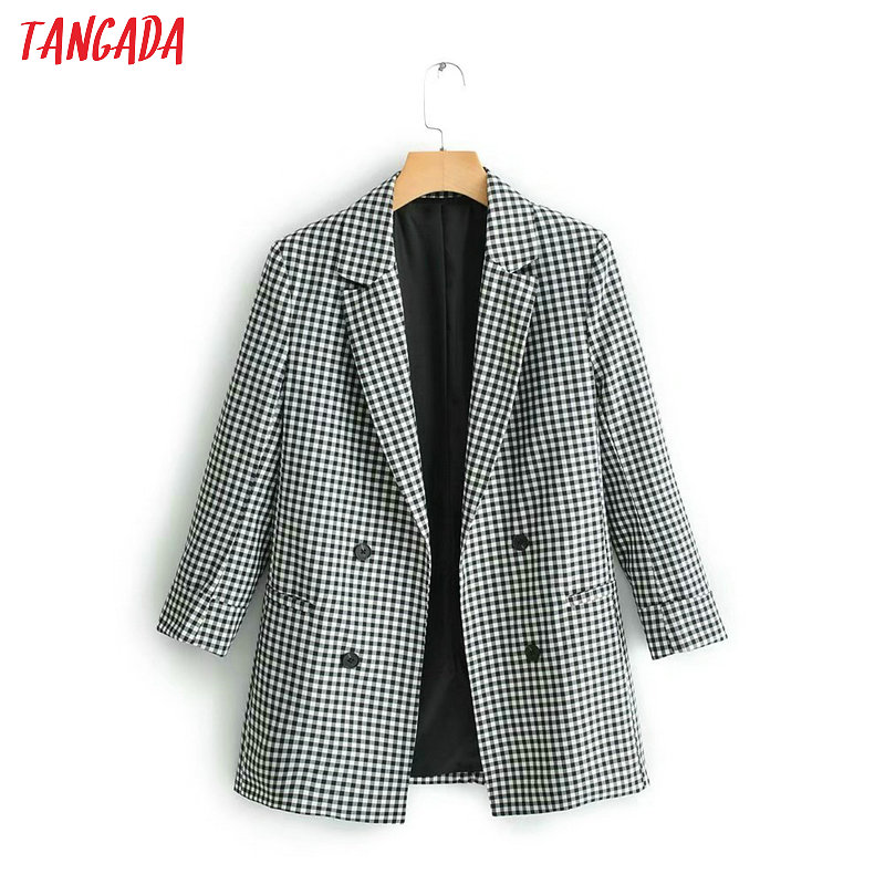 Tangada Women Chic Plaid Blazer 2019 Long Sleeve New Arrival Blazer Jacket Office Ladies Casual Outwear QJ115