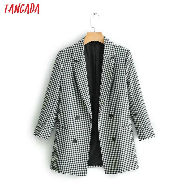 Tangada Women Chic Plaid Blazer 2019 Long Sleeve New Arrival Blazer Jacket Office Ladies Casual Outwear QJ115