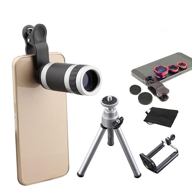 6in1 Kit de Lentes de Cámara Del Teléfono de 8x Teleobjetivo Lente 3in1 Ojo de Pez de Ancho lentes de ángulo macro mini trípode para iphone 5s 6 6 s 7 huawei p6