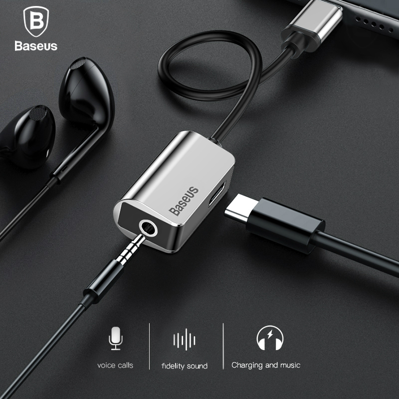 Baseus USB C Adapter Type C to 3.5mm Jack Earphone Cable For Xiaomi Mi 6 Huawei Mate 10 Pro Type-C Fast Charge OTG Extension
