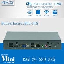 Celeron J1800 2.41-2.58 ГГц Двухъядерные 2 Потока HTPC Безвентиляторный Мини-box PC с ОЗУ 2 Г SSD 32 Г VGA/HDMII/USB/Последовательный порт
