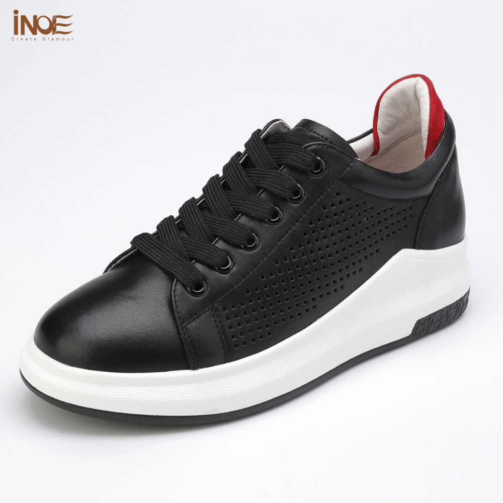 INOE 2017 new fashion real genuine cow leatehr women summer lace up shoes for big girls white flats casual style black loafers 2016 new women s fashion shoes spring summer style casual flats lace up pointed toe leather plus size 35 41 loafers for girls